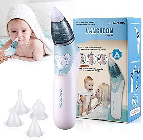 Baby Nasensauger, ulpeak Elektrischer Nasenreiniger Ohrenschmalz-Entferner mit 4Größen wiederverwendbarem Rotzsauger für Neugeborene, Kleinkinder & Säuglinge