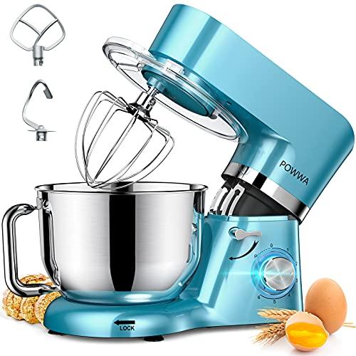 Küchenmaschine, POWWA 6,2 L Rührmaschine Knetmaschine, 6+1 Geschwindigkeit Teigmaschine,1500W Teigknetmaschine mit Schneebesen, Knethaken, Rührbesen & Spritzschutz zum Backen, Kuchen, Kekse, Kneten