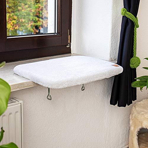 Pfotenolymp® Premium Fensterbrett/Liegebrett für Katzen am Fenster – Fensterliegeplatz/Katzenliege für die Fensterbank – Liegeplatz/Liegemulde für Katzen