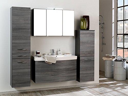 möbelando Badezimmer Komplettset Schrank Bad Waschtisch Möbel Set Spiegel Graphit I