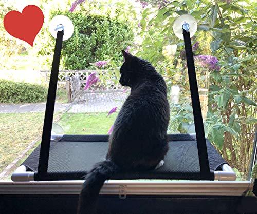 Premium Fensterplatz für die zufriedene Katze Katzenliege 360° Ausblick Hängematte Fensterliege Sonnenbad Katzenhängematte Fensterliegeplatz Fenster Bett Fensterbank hängend Saugnäpfen bis 15KG