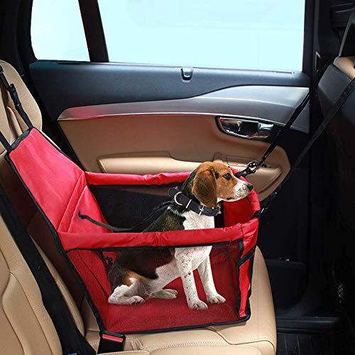 IvyLife Auto-Hundesitz für Kleine Hunde oder Katzen Transporttasche verstellbar aus Oxford-Stoff Wasserdicht Atmungsaktiv Haustier Sicherheit Auto Sitz Doppelt Schicht Verdickt Haustier (Rot)