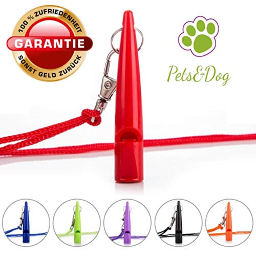Pets&Dog Hundepfeife | Trainingspfeife | Hundeerziehung | Welpen-Erziehung | Pfeife für Hunde | Hundeausbildung | Umhänge Pfeife | Agility Hundetraining (Rot/Red)