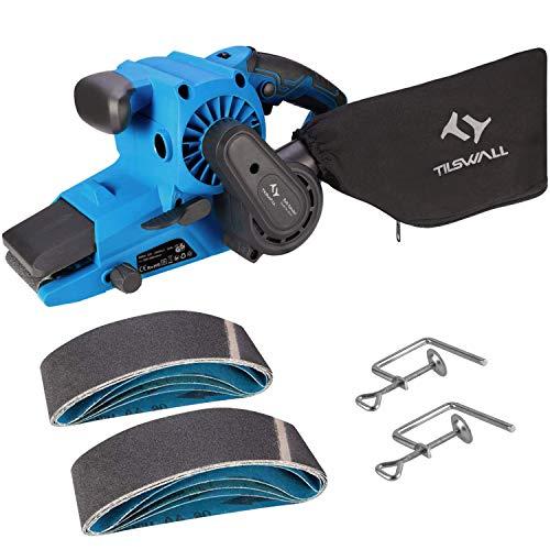 Bandschleifer Tilswall 900W Schelifer, 10 Stück Schleifbänder 76x533mm, 710 RPM, Staubabsaugbeutel, 6 einstellbare Geschwindigkeit, werkzeuglose Einstellung des Sandpapier