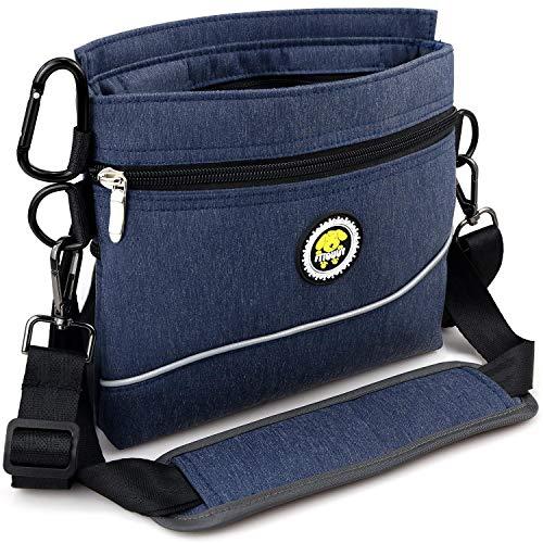 Hunde Leckerlie Tasche mit Magnet-Verschluss, 2 Zip-Tasche, Futterbeutel Hunde mit herausnehmbare Innentasche, gepolsterte Tragegurter, perfekte Futtertasche für Agility-Training- inklusive Karabiner