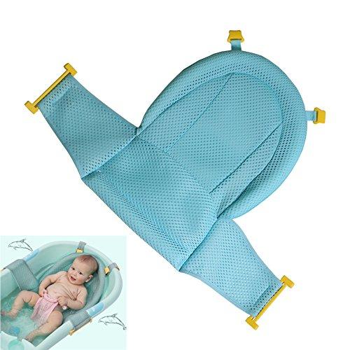 Baby Badewanneneinsatz Sitz, Neugeborene Dusche Mesh für Badewanne, 2018 New Style verstellbar bequeme Badewannen Anti-Rutsch Sitzfläche für Infant 0–3 Jahren