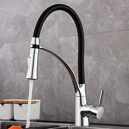 GAVAER Küchenarmatur, 360° Drehbarer Wasserhahn Küche mit Herausziehbarer Dual-Spülbrause, Schwarzem Silikon Weichschlauch, Kaltes und Heißes Wasser Vorhanden, Messing Verchromt, Lebenslange Garantie.
