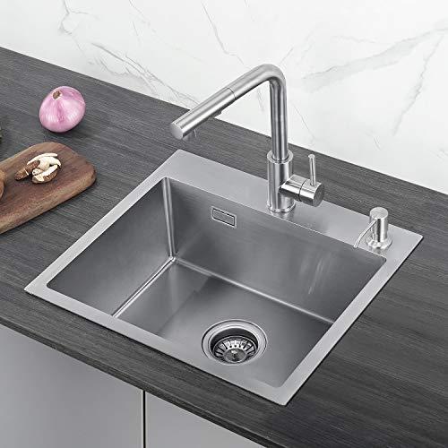 CECIPA Edelstahl Küchenspüle 50cm Unterschränke für Küchen Spülbecken,Einbauspüle 1 Becken Küchenspüle, Küchenspülbecken, Edelstahlspüle,Außenmaße 50 x 45 cm,inkl.Seifenspender