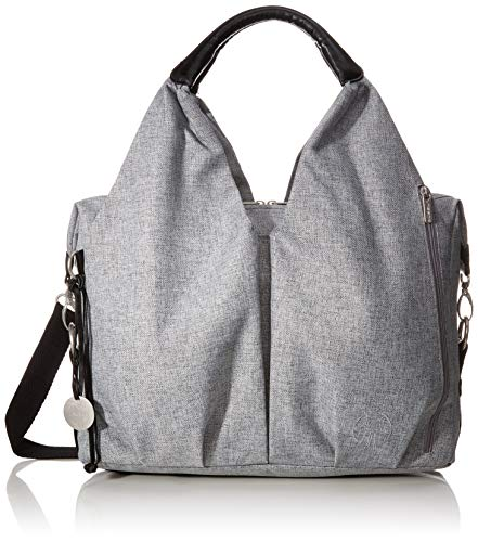 LÄSSIG Baby Wickeltasche nachhaltig inkl. Wickelzubehör nachhaltig produziert/Green Label Neckline Bag, grau/schwarz mélange