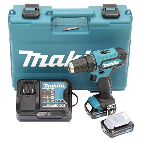 Makita DF333DSAE Akku-Bohrschrauber 12 V max. / 2,0 Ah, 2 Akkus + Ladegerät im Transportkoffer, 10.8 V, Schwarz, Blau