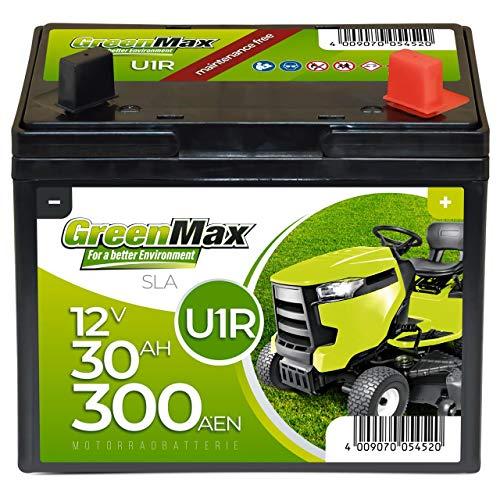 GreenMax U1R (Pluspol rechts) Garden Power Rasentraktor-Batterie 12V 30Ah 300A Starterbatterie für Aufsitzmäher wartungsfrei