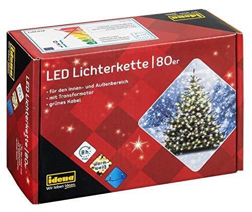 Idena 8325058 - LED Lichterkette mit 80 LED in warm weiß, mit 8 Stunden Timer Funktion, Innen und Außenbereich, für Partys, Weihnachten, Deko, Hochzeit, als Stimmungslicht, ca. 15,9 m