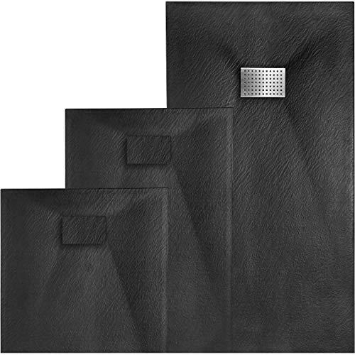 VILSTEIN Duschwanne | Antirutsch Duschtasse | flach | Steinoptik | inkl. Siphon und SMC Abdeckung | 120x90 cm | Schwarz