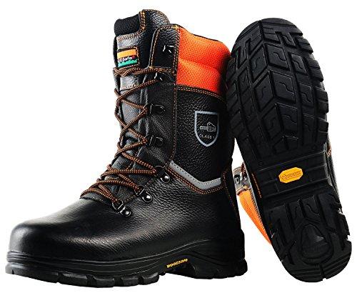 WOODSafe Schnittschutzstiefel Klasse 1 S3 schwarz/orange - Forststiefel kwf-geprüft (43)