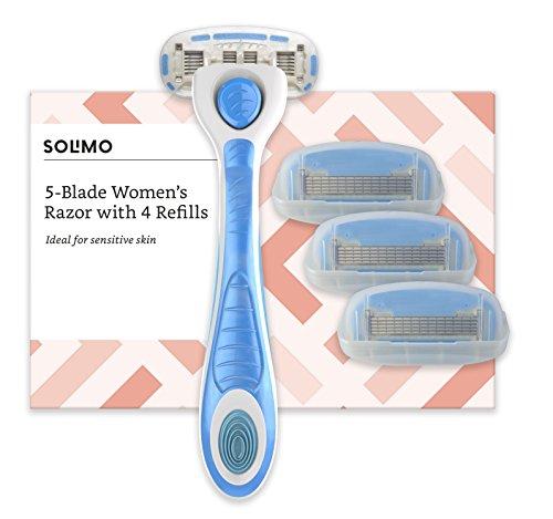 Amazon-Marke: Solimo Damenrasierer mit 5-fach-Klinge + 4 Ersatzklingen