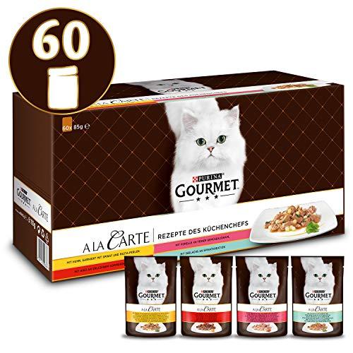 Gourmet A la Carte Rezepte des Küchenchefs mit Huhn, Rind, Forelle und Seelachs, Katzennassfutter, Portionsbeutel, 60er Pack (60 x 85 g)