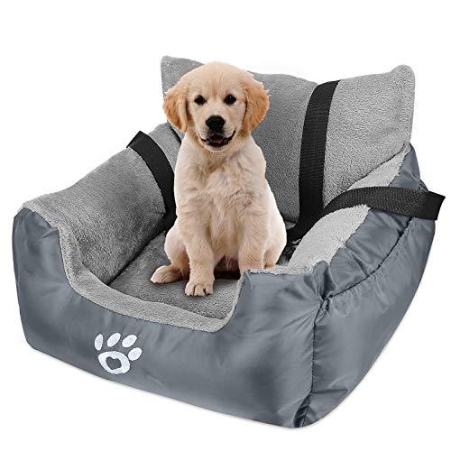 JASVIJO Hunde Autositz für Kleine Mittlere Hunde, Extra Stabiler Wasserdichter Hundeautositz für Rück- und Vordersitz, hochwertiger Stoff mit Aufbewahrungstasche, Warm halten& rutschfest (Grau)