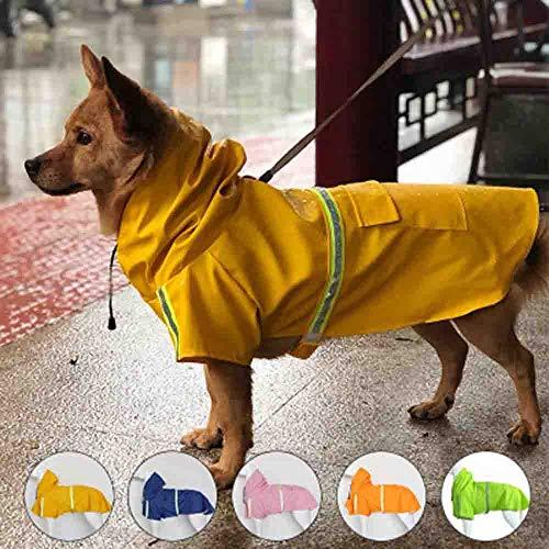 MEIYA Hunderegenmantel Hunderegenjacke mit Kapuze Ultraleichter Regenschutz Sicherer Reflexstreifen for große Hunde (Color : Gelb, Size : 3XL)