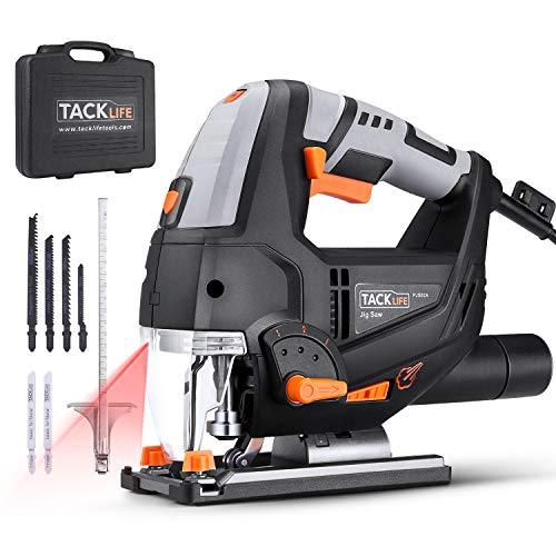 TACKLIFE 800W Elektro Stichsäge mit Laser & LED, 3000SPM, mit 6 Blättern, 6-Geschwindigkeitsvorwahl, 4-Stufen-Pendelung, Werkzeugloser Sägeblattwechsel, im Koffer, Fußplatte aus Aluminium-PJS02A