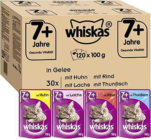 Whiskas 7 + Katzenfutter – Gemischte Auswahl in Gelee – Hochwertiges Nassfutter für Katzen ab 7 Jahren und älter – Für die Bewahrung der Vitalität – 120 Portionsbeutel à 100g