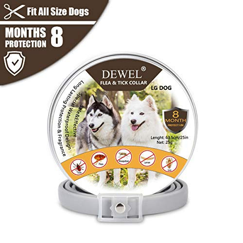DEWEL Hundehalsbänder gegen Ungeziefer, 63cm Zecken Halsband für Hunde und Katze Wasserdicht Hund Flohhalsband