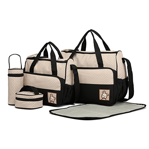 Miss Lulu 5er-Set Baby Wickeltasche Babytasche Tasche Mutter Windeltasche Handtasche Schultertasche Flaschenhalter mit wickelunterlage (Schwarz)