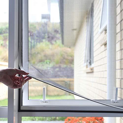 NeatiEase DIY Insektenschutz Magnetfenster, Max 100 x 130 CM, Magnet Rahmen für Fliegengitter Fenster Mückengitter, waschbares, weiß, kein Stanzen erforderlich Flammhemmend & wasserdicht