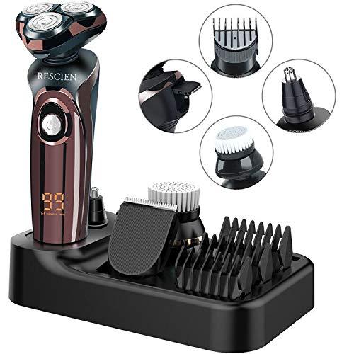 Rasierer Herren Elektrisch 4D, Elektrorasierer Rasierapparat Nass-und Trockenrasiererr IPX7 Wasserdicht, LED-Display Bartschneider Präzisionstrimmer Rotationsrasierer Männer USB-Aufladung