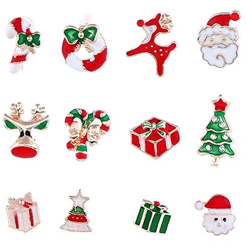 heekpek 6 Paar Ohrringe Weihnachten Weihnachtsohrringe Ohrstecker Weihnachten Geschenk Ohrringe Weihnachtsschmuck Ohrringe Rentier Anhänger Weihnachten für Damen Frauen (A)