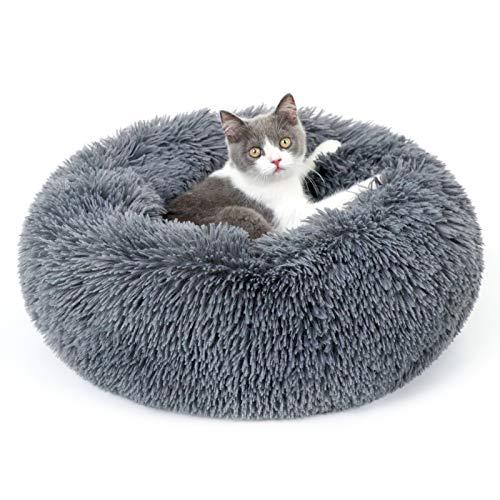 rabbitgoo Katzenbett Hundebett flauschig Kleine Hunde Katzenkorb rund weich kuschelig Hundekissen katzenkissen waschbar Donut-Form Haustierbett zum schlafen für Katzen Hunde Kleine Tiere
