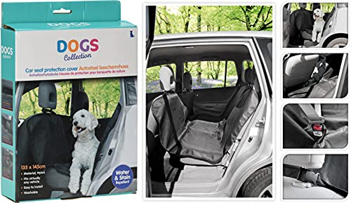 Hunde-Autoschondecke Hundeschutzdecke für Auto-Rückbank Rücksitz Kofferraum für Haustiere, wasserdicht waschbar, 135 x 145 cm, schwarz