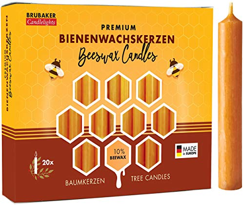 Brubaker 20er Pack Baumkerzen 10% Bienenwachs Weihnachtskerzen Pyramidenkerzen Christbaumkerzen Honig-Gelb