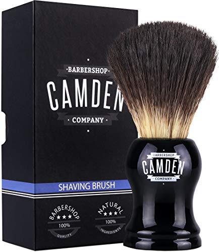 Rasierpinsel von Camden Barbershop Company ● Vegan Badger 2.0 ● für die Nassrasur ● veganes Dachshaar