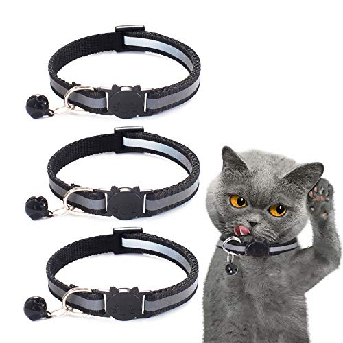 Katzenhalsband Reflektierendes 3 Stück Anhänger mit Sicherheitsverschluss und Glöckchen Verstellbar 19–32 cmfür Hauskatzen Kleine Hunde (schwarz)