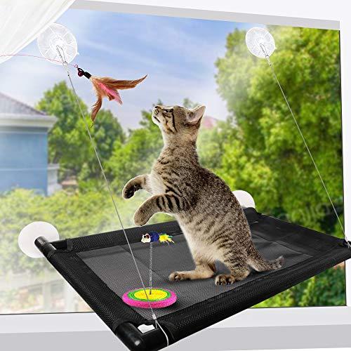 SKRTUAN Katzenhängematte, Katzen Fensterplatz,Geeignet für große Katzen,Stabile Fensterliege Größe 68 x 40cm