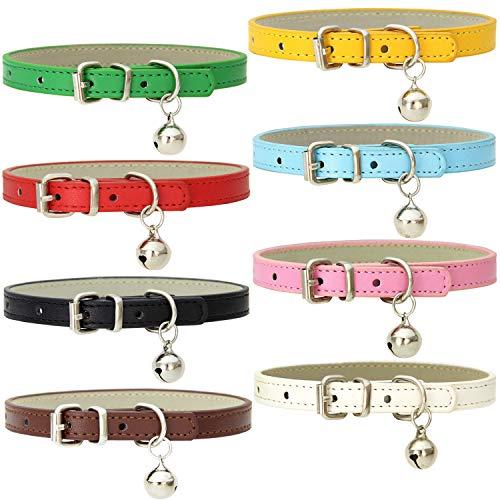 Katzenhalsbänder aus Leder mit Glöckchen, handgefertigt, poliert, langlebig, Metallschnalle, verstellbar, für kleine Tiere im Innen- und Außenbereich, 8 Stück
