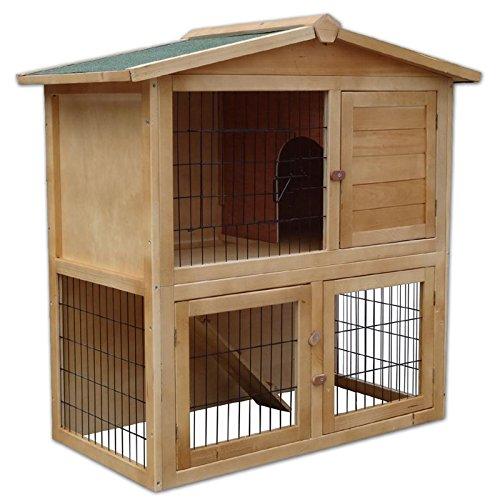 dibea RH10011, Kleintierstall Holz (98 x 54 x 100 cm), geräumiger 2-Etagen Käfig, 3 Türen, für Kaninchen Hamster Hasen Meerschweinchen