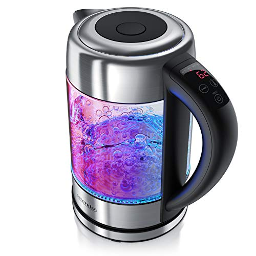 Arendo - Wasserkocher Edelstahl Glas mit Temperatureinstellung – 1,7l - einstellbare Temperaturen 40° 70° 80° 90° 100 °C – Warmhaltefunktion – 3 Min Aufkochfunktion – GS - BPA-frei - RGB Beleuchtung