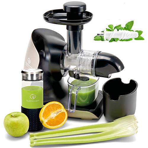 GREEN-PRESS KERAMIK Horizontaler Slow Juicer mit Keramik Pressschnecke BPA-frei | Sellerie, Selleriesaft, Weizengras, Kräuter Grüne Detox Säfte | Allround Entsafter elektrisch
