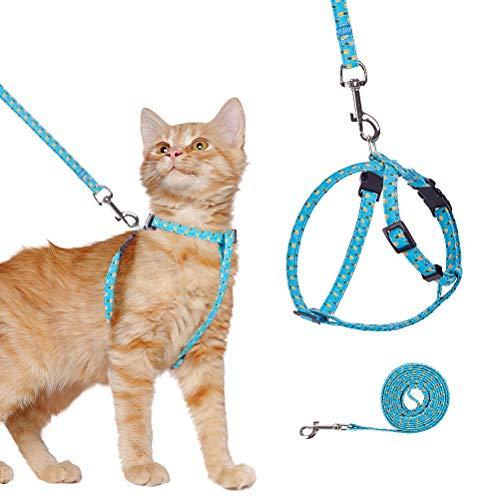 BINGPET Ausbruchsicheres Katzengeschirr mit Leine für Spaziergänge im Freien, verstellbar, weiches Haustiergeschirr mit Brustgurt mit Ananas-Muster, passend für die meisten Katzen