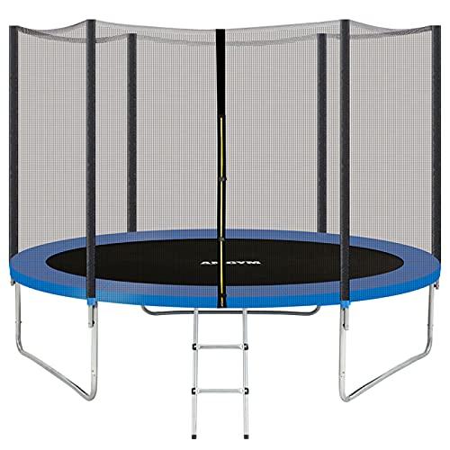 AMGYM Trampolin 244 cm Sports Outdoor Gartentrampolin Komplettset inklusive mit Sicherheitsnetz, Leiter, Randabdeckung & Zubehör Kindertrampolin Belastbarkeit 200 kg TÜV GS EN71 Zertifiziert