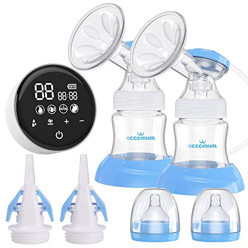 Elektrische Milchpumpe, Eccomum Doppel Milchpumpe Stillpumpe mit 4 Modi und 9 Stufen, Voll-Touchscreen-LED-Anzeige, Speicher-Funktion, starke Saugkraft, BPA-frei, schmerzfrei (Weiß)