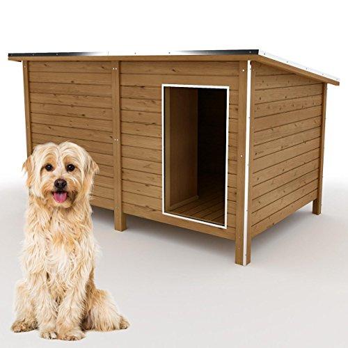 happypet Hundehütte L oder XL - Hundehütte in L-Format, Echtholz-Hütte DK150-2 wetterfest, isoliert, mit Windfang, Outdoor Hundehaus für große Hunde, Platz für Hundebett, mit hohen Standbeine, aus Massivholz 150 x 95 x 95 cm
