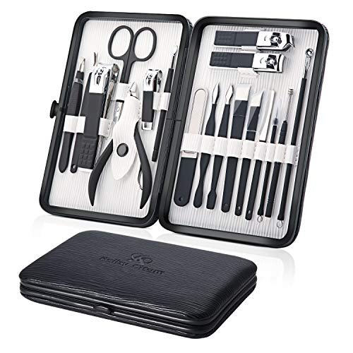 Maniküre Set, Pediküre Kit 18 teiliges, Nagelpflege nagelknipser set Edelstahl Pflege Werkzeuge für Reise (schwarz)