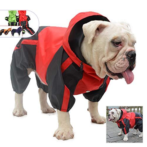 lovelonglong Hunde Regenmantel mit Hoodie, Atmungsaktive Regenjacke mit Vier Beinen im Freien Einstellbare wasserdichte Regenjacke für Bulldogge Französische Bulldogge Hunde Red B-S