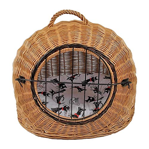 Katzenkorb aus Weide mit Kissen   Größe M 50x40x45 cm braun Natur   abnehmbares Metall-Gitter Transportkorb/Transportbox für Katzen Hunde   Katzenhöle Hundebett (M)