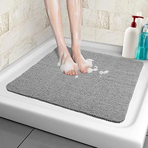 Duschmatte rutschfest, 53*53cm, Weich Komfort Sicherheits Badewannenmatte mit Ablauflöchern, PVC-Luffa Massage Duschmatten für Nassbereiche, Schnell trocknend (Grau, 53x 53 cm)