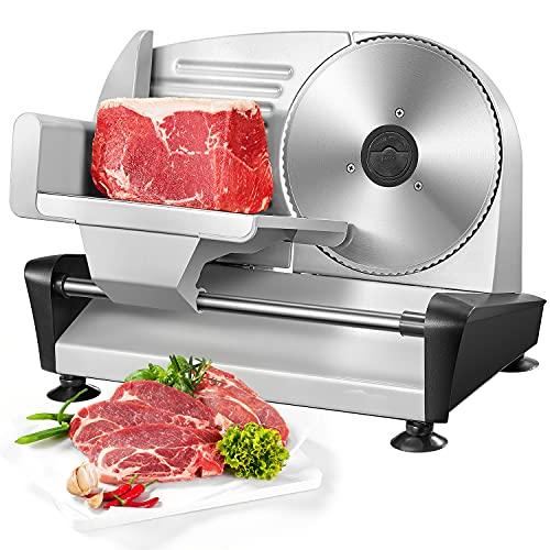 Brotschneidemaschine Elektrisch - Allesschneider & Wurstschneidemaschine mit 19cm Edelstahlklingen, Verstellbare Küchenmaschine 0 bis 15mm für Fleisch/Brot/Obst/Wurst, 150 W, Silber