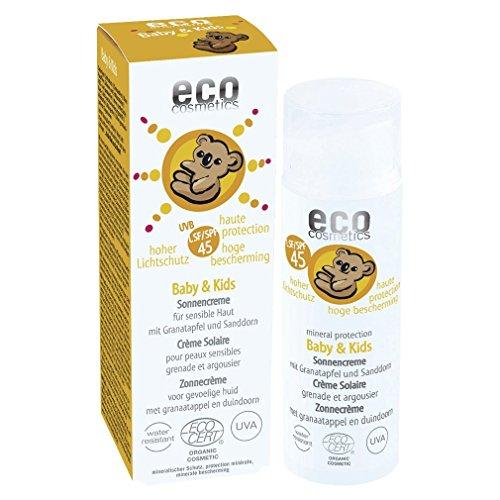 eco cosmetics Baby Sonnencreme LSF45, wasserfest, vegan, ohne Mikroplastik, Naturkosmetik für Gesicht und Körper, 1 x 50ml