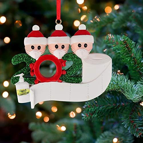 Sporgo Weihnachtsschmuck,2020 Survived Family Christmas Ornament,3D dreidimensional Weihnachtsschmuck,DIY Name Gruß Dekoration Schneemann Anhänger mit Maske Für Weihnachtsbaum Deko (Family of 3)